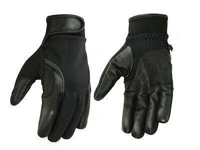 Z1R Mens 243 Premium Goat Skin Leather Vented Perforated Half Gloves X-LG