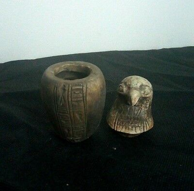 RARE ANTIQUE ANCIENT EGYPTIAN Horus Canopic Jar Egyptian 1900 - 1100 BC