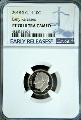 2018-S ROOSEVELT CLAD PROOF DIME 10c BLUE EARLY RELEASES NGC PF70 ULTRA CAMEO