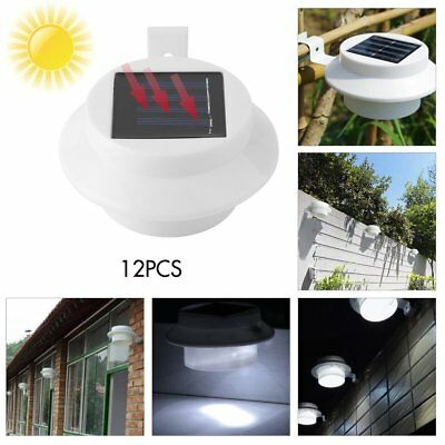 12X 3 LED Solar Fence Light Gutter Lamp Outdoor Garden Yard Pathway Wall Bulb ME