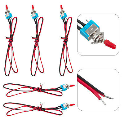 5Pcs SPST Toggle Switch Wires On/Off Metal Mini Small Automotive/Boat/Car/Truck