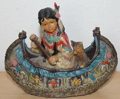 AMERICAN INDIAN CANOE FIGURINE 6.5x4.5 Statue Boat  Dog Craft  Native American