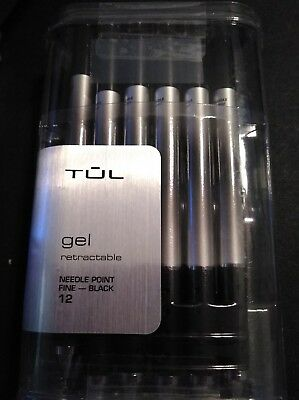 TUL Retractable Gel Needle Point Fine 0.5mm Black 12 pack Pens