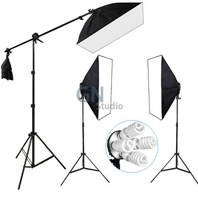Photography Studio Continuous Softbox Boom Arm Lighting Bulb Light Stand Kit
