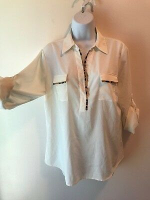 545f79a26 CALVIN KLEIN Size M Women's Ivory Crepe Leopard Trim Roll Tab Long Sleeve  Shirt