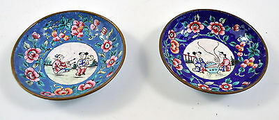 Pair of Vintage Enamel on Copper Chinese Hand Painted Mini Tray Dishes