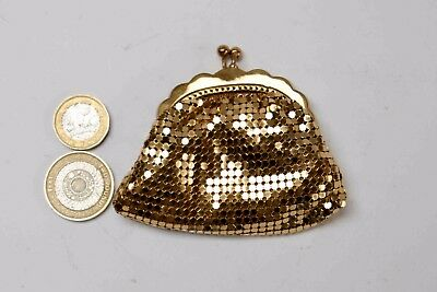 Vintage Art Deco Whiting and Davis Gold Mesh Coin Purse Kiss Clasp