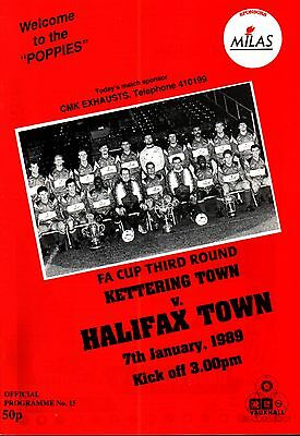 1988/89 Kettering Town v Halifax Town, FA Cup, PERFECT CONDITION