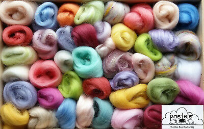 50 balls - Merino Wool / Silk roving/ tops / needle felting /spinning over 100g
