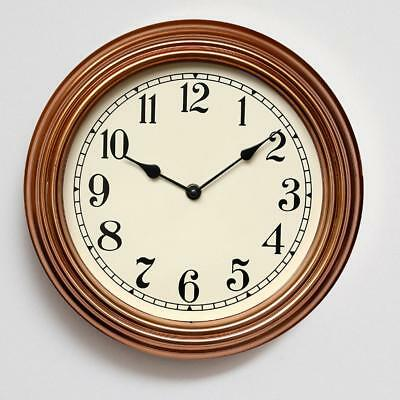 Vintage Wall Clock, Silent Quality Quartz Battery Operated 12 Inch Round 4Color