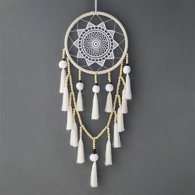 Macrame Wall Hanging Dream Catcher Large Natural Hairball (Beads with tasse Q2K9