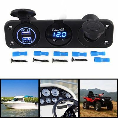 12V Dual Port USB Charger Socket Car Boat Blue LED Voltmeter 3 Hole Panel O Z2Z1