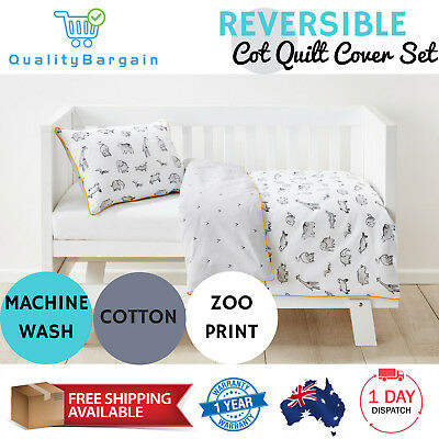 Baby Bedding Reversible Cot Quilt Cover Set Pillowcase Nursery Bed Zoo Animals