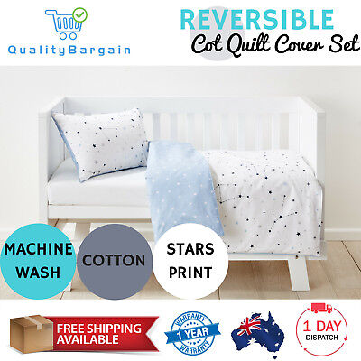 Baby Bedding Reversible Cot Quilt Cover Set Pillowcase Nursery Bed Constellation