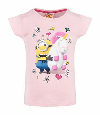 Girls Kids Official Minions Despicable Me Unicorn Short Sleeve T Tee Shirt Top