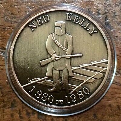Australian NED KELLY Gang Coin Finshed Bronze Glenrowan Centenary 1880 To 1980