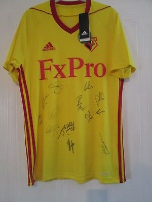 Watford Home Football Shirt Signed by 2017-2018 Squad with COA 43902 BNWT