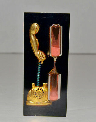 Vintage 1950s Lucite Acrylic Phone Sand Timer with Pink Sand