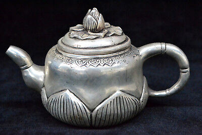 Collectible Chinese Old tibet Silver handwork lotus nice rare big antique Teapot