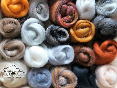17 plus animal colours / wool roving/ tops / needle felting /spinning 100g