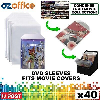 PREMIUM 50 x Clear DVD Plastic Sleeves w/ Flap - DVD Sleeves Fits Movie Covers