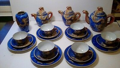 Antique Nagoya China Blue Dragonware Tea Set