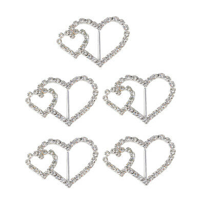 5pcs Alloy Heart Rhinestone Ribbon Sliders Findings for DIY Hair Accessories