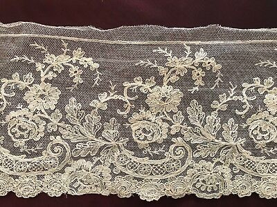 """EMBROIDERED TULLE LACE -DENTELLE REBRODEE SUR TULLE   SOLD PER YARD 4.5"""" wide"""