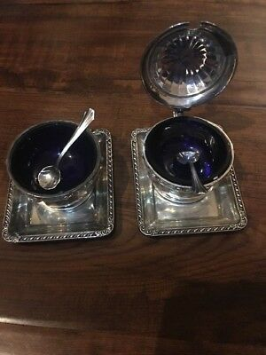 English Salt & Mustard B'ham Set & 2 WEBSTER Antique Sterling Trays With Spoons