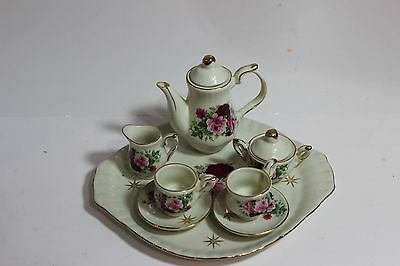 Vintage Formalities By Baum Brothers Pink Rose 10 Piece Child's Tea Set