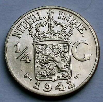 NETHERLANDS EAST INDIES 1/4 GULDEN 1942 S UNC Silver K10.7