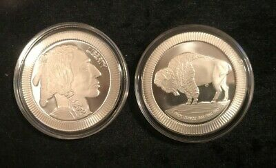 1 oz BUFFALO .999 SILVER ROUND WITH RIDGES ON EDGE MOUNTED IN HOLDER