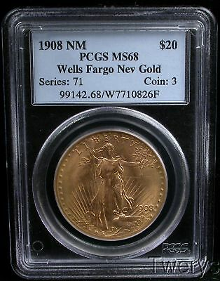 1908 No Motto St. Gaudens $20 Gold Double Eagle Pcgs Ms68 Wells Fargo Hoard