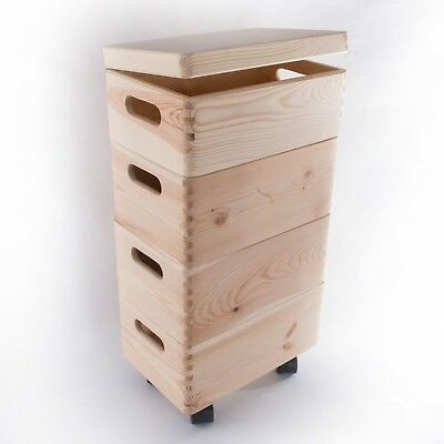 Small Stackable Wooden Storage Boxes Unpainted Decorative Lidded Handles  Wheels