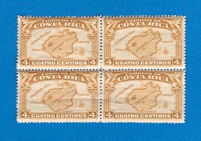 1936 Costa Rica Block of Four Stamps (Scott #169) MNH, Isla del Coco 4 Centimos