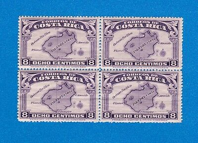 1936 Costa Rica Block of Four Stamps (Scott #170) MNH, Isla del Coco 8 Centimos