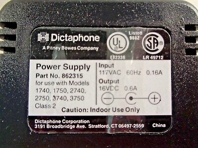Dictaphone 862315 Power Supply 16VDC 0.6A Adapter for 2740 2750 3740 3750 1740