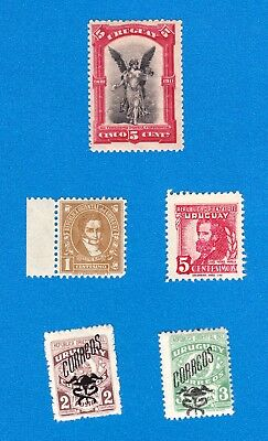 5 Uruguay Stamps MNH, 1911 Congreso #196; 1946 #539 542 + 547 548 Arms Overprint