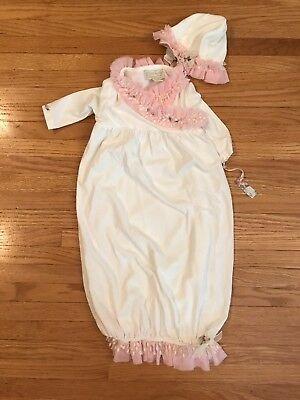 Romantique Bebe - Infant gown and hat - 0-3M - bamboo cotton