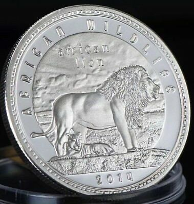 African Zambia 2014 Wildlife Lion Coin 40mm Capsule Medallion Silver Plated 1oz