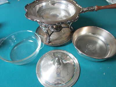 Wallace Newport Gorham Silver Plate Chafing Stand Warmer Server Glass Insert