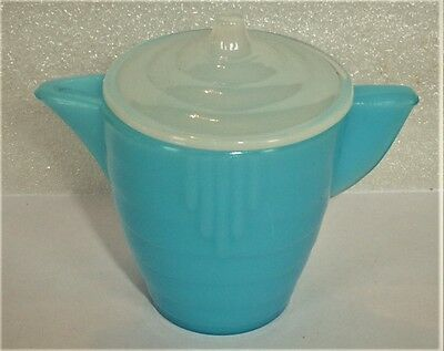 Akro Agate Sm. Stacked Disc Azure Blue Teapot With White Lid
