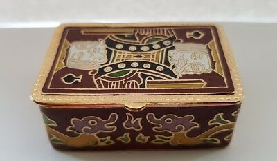 """Vintage Cloisonne Brass Rare Red Pill/ Trinket Box """"King of Spades"""" @FREE POST@"""