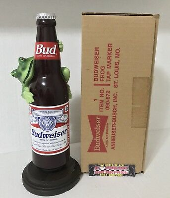 """Budweiser Frog Bottle Shaped Beer Tap Handle 9.5"""" Tall - Brand New In Box RARE"""