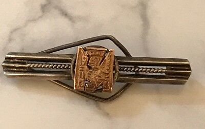 VINTAGE AZTEC MAYAN MEXICAN TIE BAR  18k GOLD STERLING SILVER
