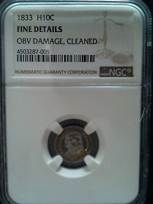 1833 P Capped Bust  Half Dime Fine Details Obv Damage,cleaned