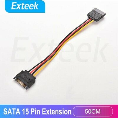 SATA 15 pin Power Extension Cable Male to Female Power Cable 50CM AU Local