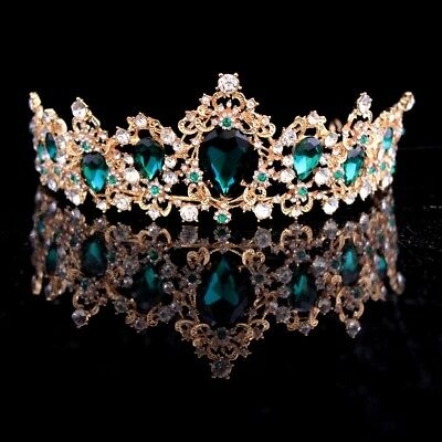 Baroque Crown Red Blue Green Crystal Bridal Tiara Crown Vintage Gold Accessories