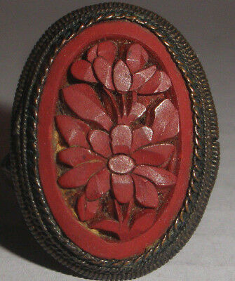 Antique Chinese Export Ring Red flowers Carved Cinnabar  Ring adjustable size