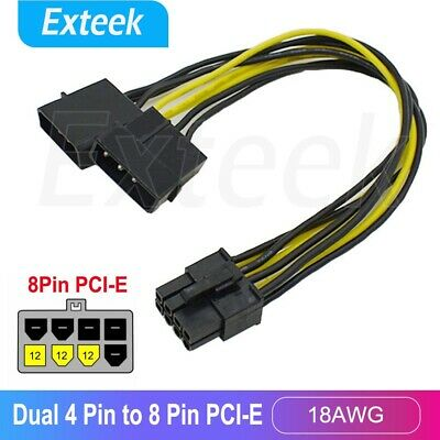 Dual Molex 4 Pin to 8 Pin PCI-E Express Video Card Power Cable Adaptor